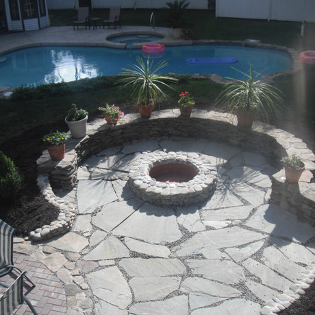 Pool Patio with Stone Firepit
