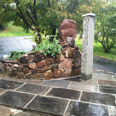 Patio with Stone Feature