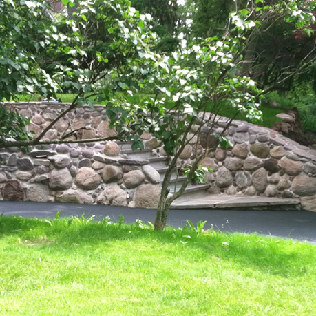 Large Stone Retaining Wall and Steps