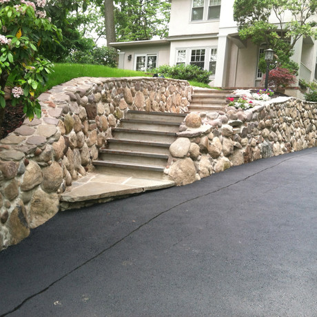 Natural Stone Grand Steps and Wall