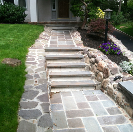 Natural stone walkway, steps and bench