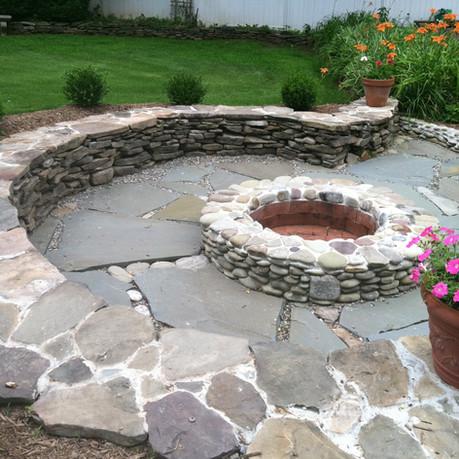 Backyard Firepit, Patio and Wall