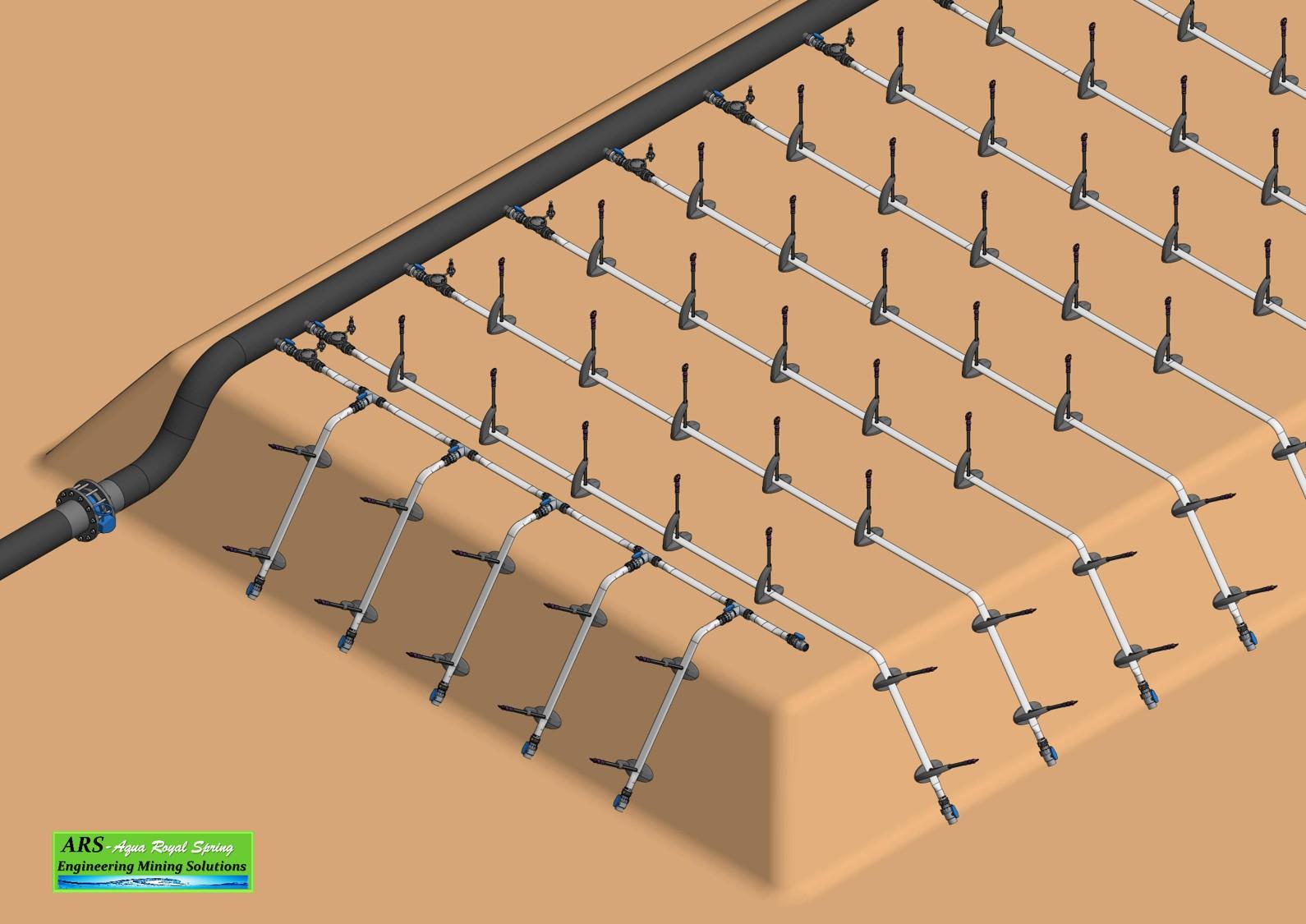 Design heap leaching irrigation