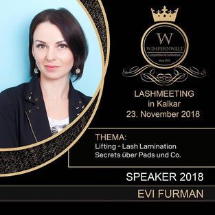 Speakerin auf der Konferenz. Das Thema: Lash Lifting Secrets