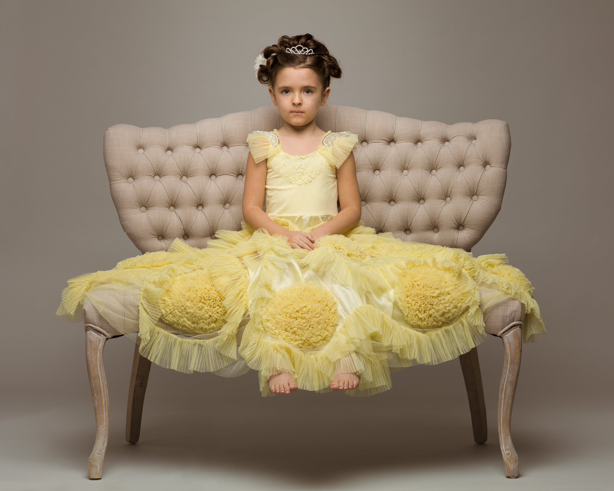 Classic-Couture-White-On-White-Settee-Fairy-Tale-Frock-Dollcake-Oh-So-Girly-Yellow-Dress-Princess-Ph