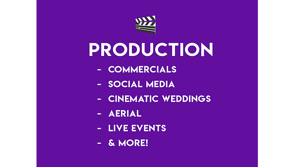 Video Production Services Production Commercials Social  Media Tik Tok Cinematic Weddings Aerial Drones Live Events Streaming Services Instagram Dance Videos Concepts