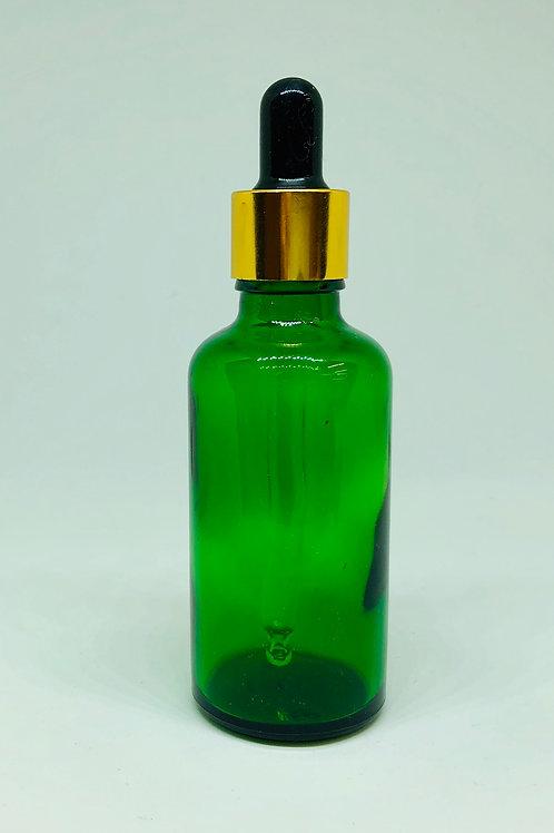 アロマボトル 50ml ガラス製 スポイトタイプ 緑 遮光性 精油 化粧水の複製