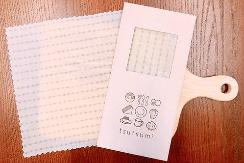【tsutsumi ミツロウラップ】白ストライプ(一枚入り) S・Mサイズ数量限定 なくなり次第終了 ハンドメイド