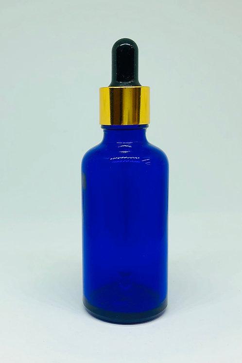 アロマボトル 50ml ガラス製 スポイトタイプ 青 遮光性 精油 化粧水