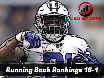 Running Back Floor Rankings 16-1 2020