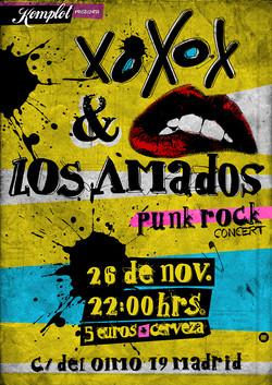 """Cartel Concierto""""XOXOX y Los Amados"""""""