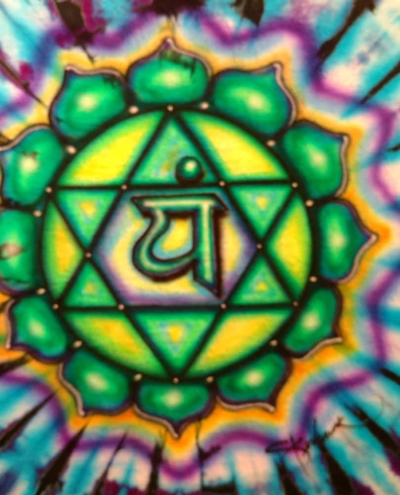 Heart Chakra Art on a custom tie dye