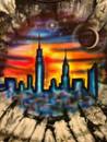 New York skyline on a youth tee