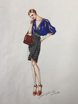 blue blouse & plaid pencil skirt