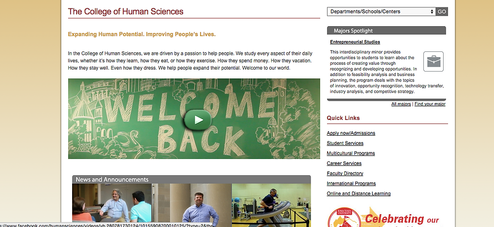 The College of Human Sciences Home Page (08/24/2015)
