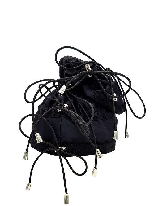 Black satin bungee beanie