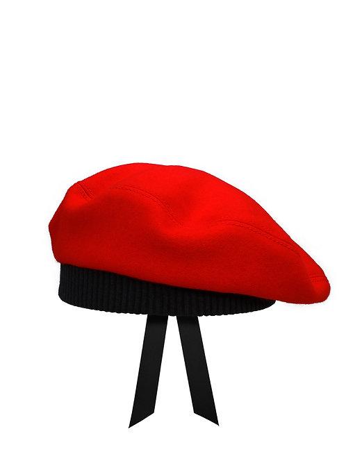 Scarlet Merino wool beret