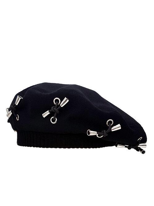 Black wool beret with metal tips