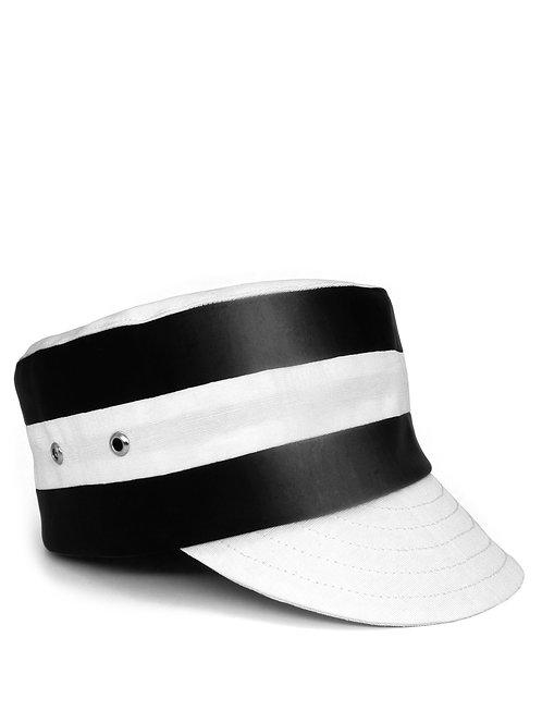 Striped pillbox cap