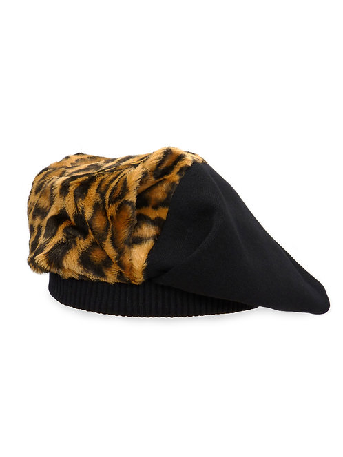 Leopard and jersey oversized beret
