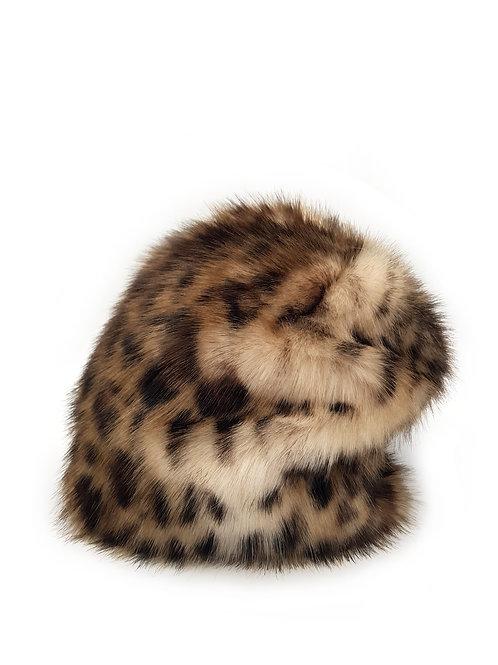 Faux leopard fur beanie