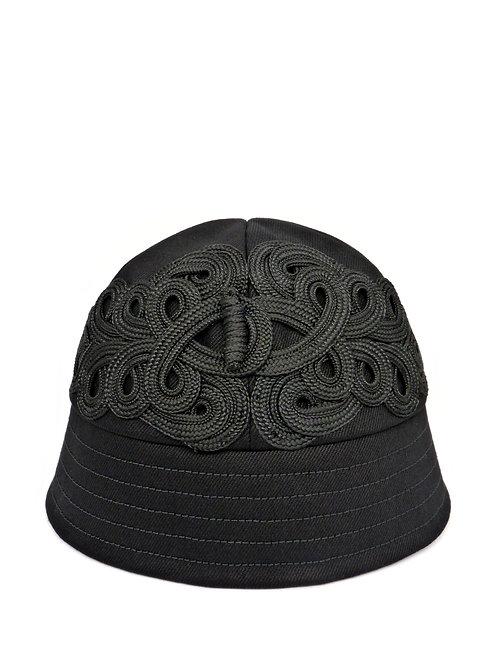 Black denim bucket with braid detail