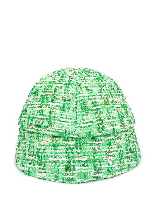 Green bouclé bucket hat