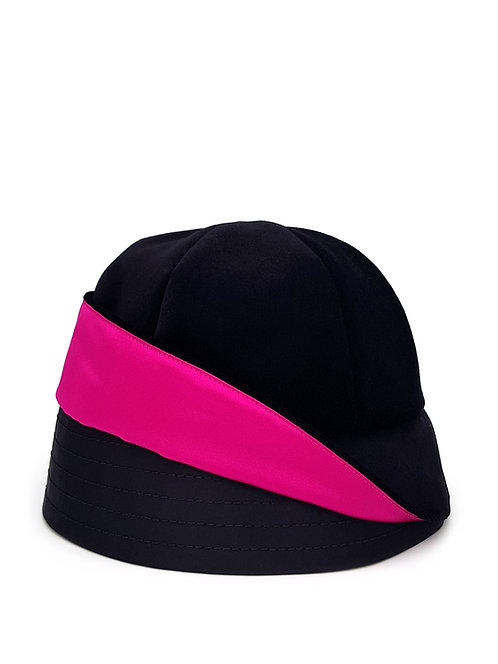 Black velvet turn-up bucket hat