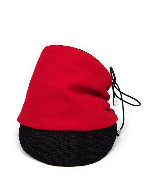 Red wool peaked fez
