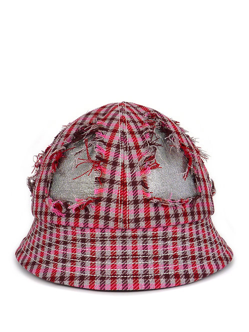 Distressed check bucket hat