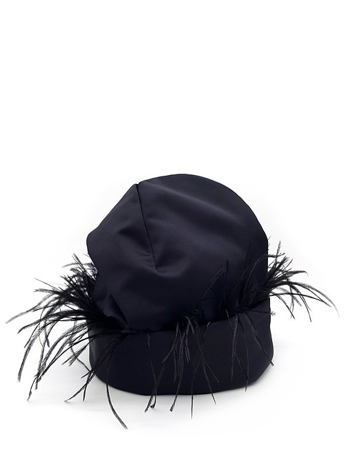 Black satin beanie with ostrich trim
