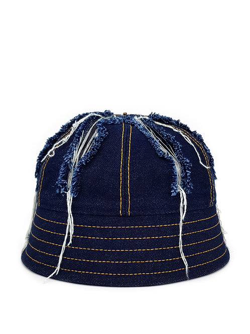 Slashed denim bucket hat