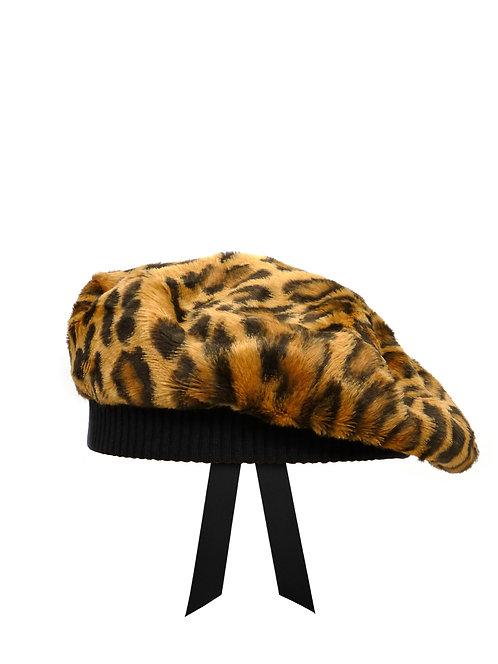 Faux leopard fur beret