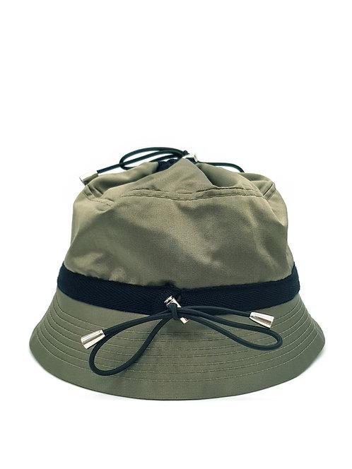 Khaki satin bungee bucket