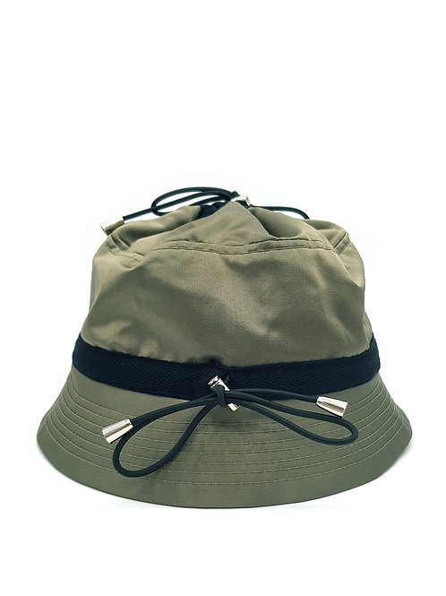 Khaki satin bungee bucket