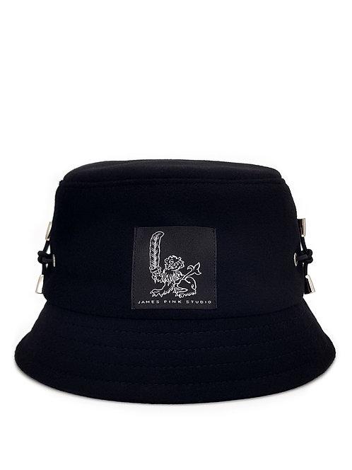 Black wool bucket hat