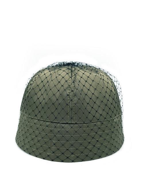 Mesh-trimmed satin bucket hat