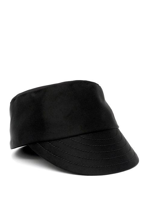 Black satin cap