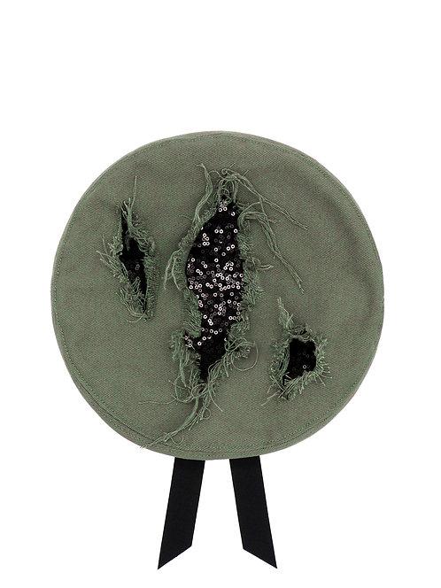 Slashed sequin beret