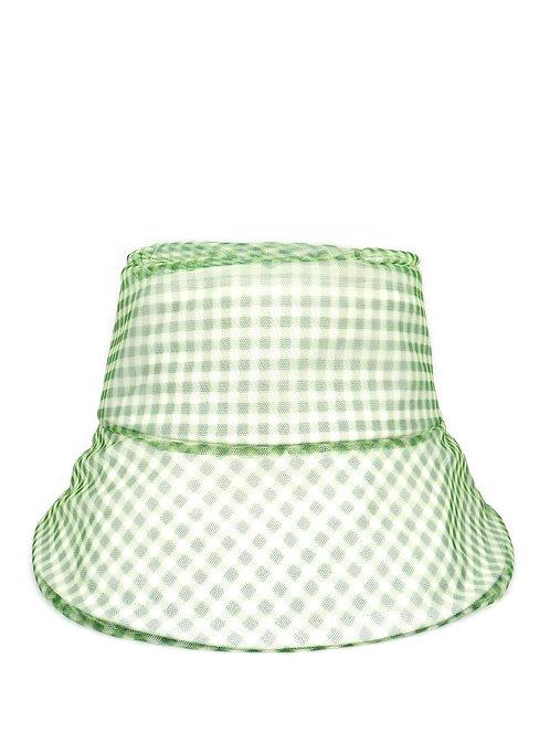 Green gingham mesh sun hat