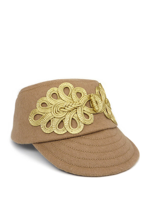 Camel wool cap with braid detail