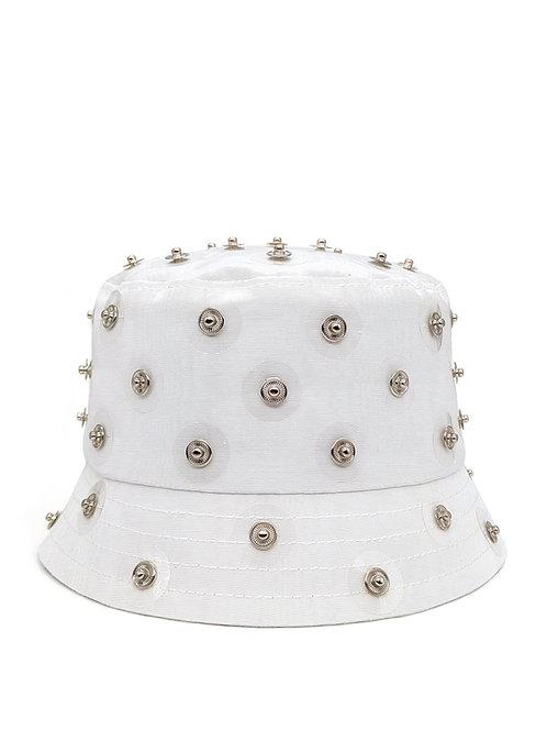Embellished white moiré bucket