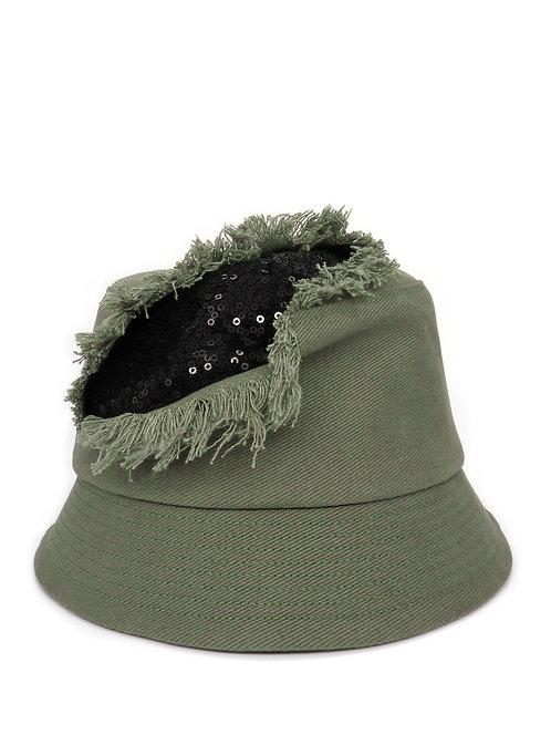 Slashed sequin bucket hat