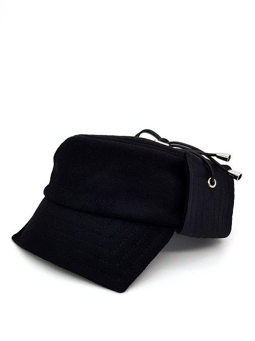 Black wool storm cap