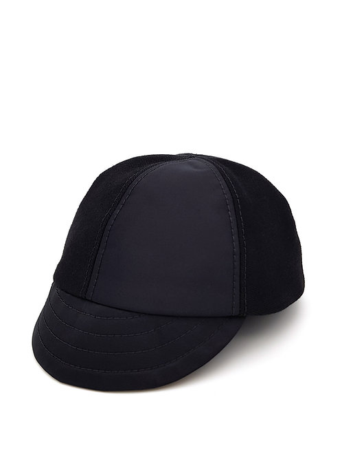 Black satin and denim cap