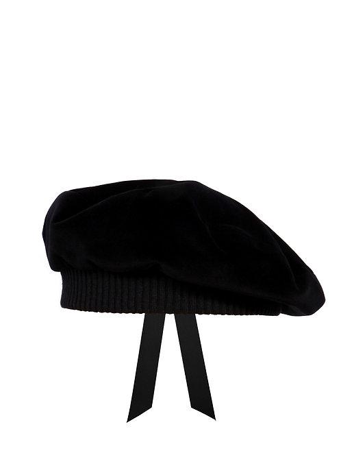 Black velvet beret