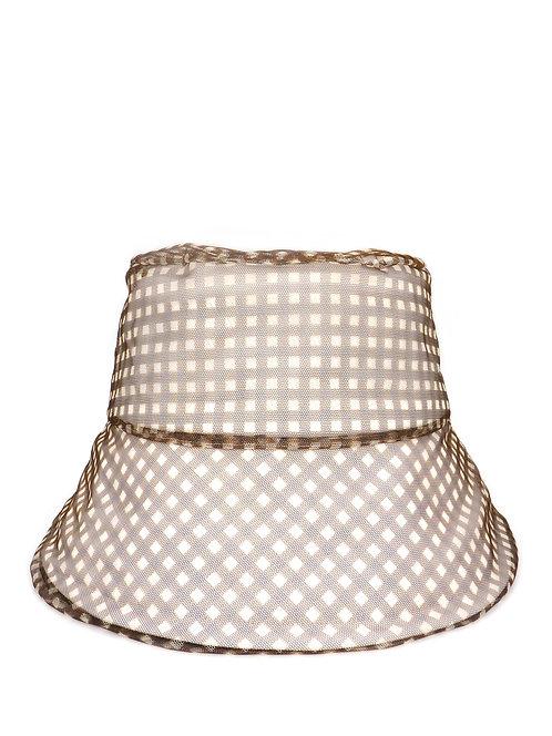 Brown gingham mesh sun hat
