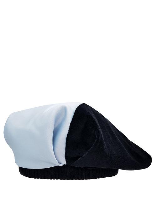 Velvet and satin oversized beret