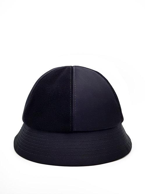 Black satin and denim bucket hat