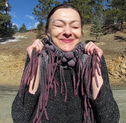 Pink fringe scarf.JPG